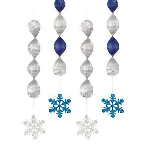 Pack 4 Blue & Silver Foil Snowflake Hanging Christmas Party Ceiling Decorations