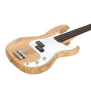 """Glarry Fretless P Bass Guitar Full Size 34"""" Scale Basswood Body with Gig Bag"""