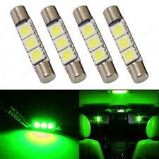 4 x Green 28mm 3SMD T6 6641 LED Bulbs Sun Visor Vanity Mirror Fuse Lights +TOOL