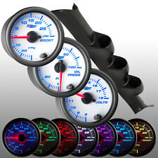 01 - 06 Mitsubishi Lancer Triple Gauge Pod 52mm w. 3 White 7 Gauges Package