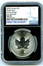 2018 $5 CANADA 1 OZ SILVER INCUSE DESIGN MAPLE LEAF NGC MS70 FIRST RELEASE RETRO