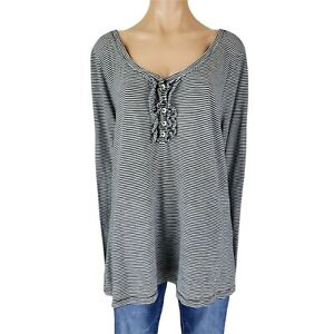 Old Navy XXL Top Shirt Blouse Women Plus Size 2X Black Striped Ruffle Henley Tee