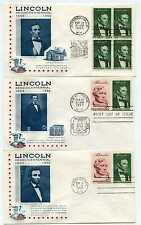 Lincoln Sesquicentennial set of ten event covers, cacheted unaddressed