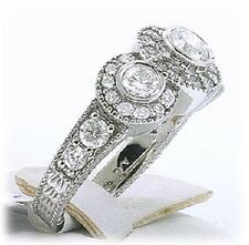 1.52 Ct 3 Stone Round Diamond Deco Vintage style Ring G VS2/SI1 14k White Gold