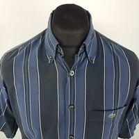 Lacoste Mens Vintage Shirt MEDIUM Short Sleeve Blue Regular Fit Striped Cotton
