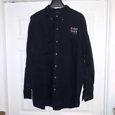 Mens Poker Stars XXL Long Sleeve Collard Black Button Up Shirt