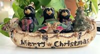 3 Resin Bears in a Merry Christmas Canoe with a Gift Fish, Tree, Presents Decor