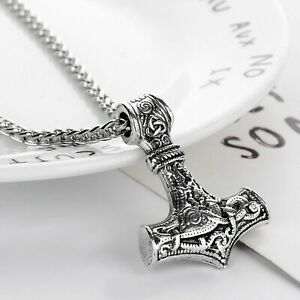 Viking Thors Hammer Pendant Necklace Mjolnir Nordic Silver Steel Keel Chain