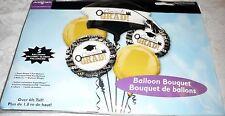 Anagram CONGRATS GRAD - 5 Balloon Bouquet - Over 6 Ft. Tall - GOLD,BLACK,WHITE