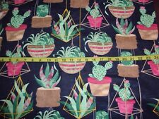 Hanging & Potted Succulents Cacti Plants Navy Cotton Flannel Fabric BTY