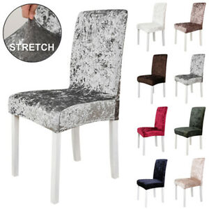 UK Crushed Velvet Dining Chair Covers Wedding Party Seat Slipcovers Home Decor