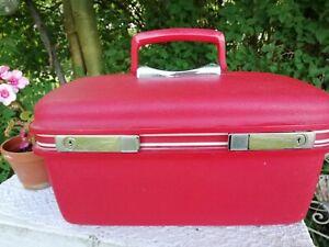 Vintage 1970s Samsonite Red Case Travel Vanity Storage Lined Zip Pocket