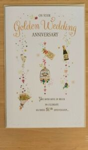 """9""""×6""""size Golden wedding anniversary card.Embossed with a 2 page coloured insert"""