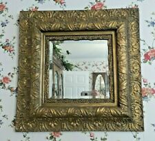 ANTIQUE LARGE SQUARE WOOD GOLD GESSO WALL BEVELED MIRROR