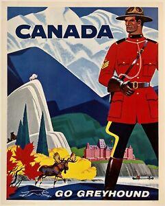"Original Vintage Mini Poster GREYHOUND CANADA Travel Tourism 11"" x 14"" LINEN"