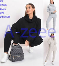 Women's Ladies polo high neck top chunky knitted lounge wear leggings suit set