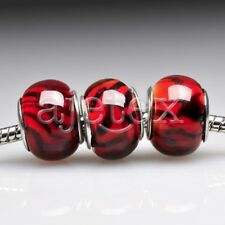 5Red Murano Lampwork Glass Round Bead Fit European Charm Bracelet Necklace LB118