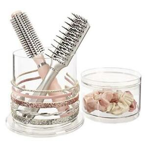Stackable Clear Plastic Headband and Hairbrush Holder with Accessory Compartment