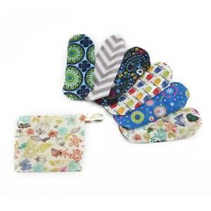6X Reusable Menstrual Pads Cloth Charcoal Bamboo Sanitary Panty Liners Random