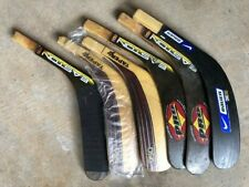 Assorted Left hockey sticks, shafts, and blades new and used