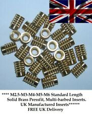 More details for threaded brass barb insert for plastic m2.5 m3 m4 m5 m6(m3x100@ £11.50) pressfit