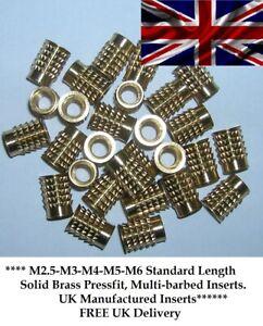 THREADED BRASS BARB INSERT FOR PLASTIC M2.5 M3 M4 M5 M6(M3x100@ £11.50) PRESSFIT