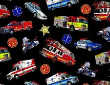 Fat Quarter In Motion Rescue Vehicles Cotton Quilting Fabric - 50 x 55cm