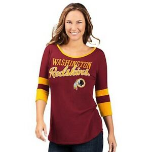 NFL Washington Redskins Officially Licensed Women's 3/4 Sleeve T-Shirt Red
