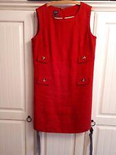 Hobbs Red Linen Sleeveless  Dress Size 14