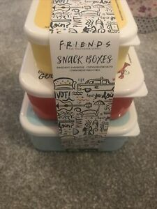 FRIENDS tv Show Snack Boxes Tupperware X3