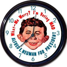 """Alfred E Neuman For President Mad Magazine I'm Voting Wall Clock New 10"""""""