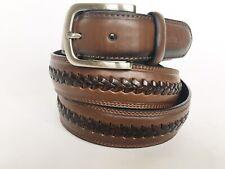 TOMMY HILFIGER Men's Brown Leather Double Stitched Center Lace Belt 42/105