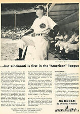 1949 Cincinatti Reds Baseball Bucky Walters Vintage Advertisement Print Ad J521