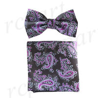 New Men's micro fiber Pre-tied Bow tie & hankie dark gray purple paisley formal