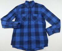 Express Womens Lightweight Cotton LS Button Down Blue Plaid Casual Shirt Size XS