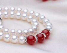 "Natural 5X7MM WHITE CULTURED ROUNDEL PEARL 10mm red jade necklace 18"" PN716"