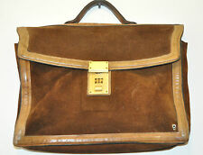 RARE Chocolate Brown Suede Leather Briefcase Document Michael Scott Spain