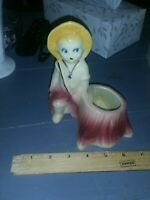 "Vintage 6"" SHAWNEE Art Pottery Boy on Stump Figurine Planter 533 USA Red Yellow"