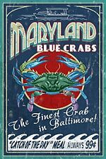 Baltimore Maryland Blue Crab Vintage Sign 9x12 Art Print Wall Decor TravelCraft