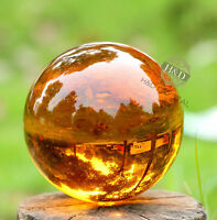 Amber Asian  Magic Crystal Glass Healing Ball Sphere +Stand 40mm HH3