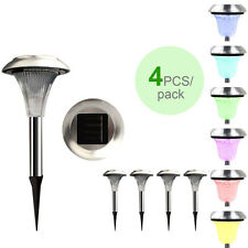 4PCS Stainless Steel Solar Light Color Changing LED Outdoor Garden Lawn Pathway