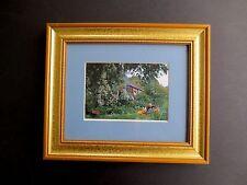 Framed Print Hand Signed Greetings! Tasha Tudor 2002, Tasha & Corgi in Garden