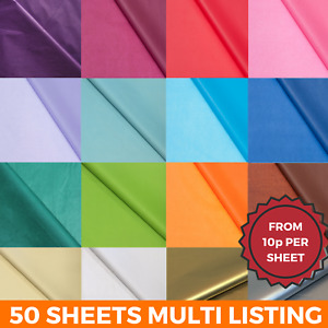 TISSUE PAPER 50 SHEETS LARGE ACID FREE QUALITY SHEETS BIO 50x75 20 COLOURS