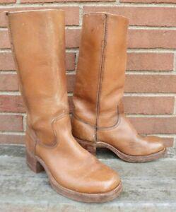 Men's VINTAGE 1970s FRYE Black Label Campus Toe Boots Size 8 D Style # 2550