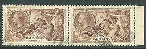 Great Britain 1934 seahorse chocolate 2/6 pair used SG450