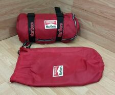 Vintage Unlimited Marlboro Red Nylon Sleeping Bag With Plaid Flannel Lining