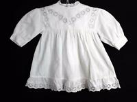 VERY RARE FRENCH EDWARDIAN WHITE COTTON INFANT DRESS SIZE 6 MONTHS
