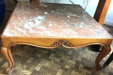 Marble Top Coffee Table w/ French Provencal Design Cabriole Legs