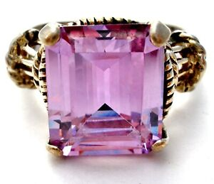 Purple Cubic Zirconia Ring Sterling Silver Size 7.25 Emerald Cut 5 Ct CZ 925