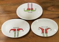 BRAND NEW (3) Rae Dunn by Magenta CHRISTMAS Elf Shoes Holiday Plates Home Decor